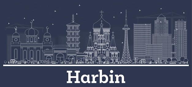 Zarys panoramę miasta harbin china city z białymi budynkami. ilustracja wektorowa. podróże służbowe i koncepcja z historyczną architekturą. gród harbin z zabytkami.