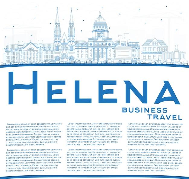 Zarys panoramę miasta helena montana z niebieskimi budynkami i przestrzenią do kopiowania. ilustracja wektorowa. podróże służbowe i koncepcja turystyki z zabytkową architekturą. helena usa gród z zabytkami.