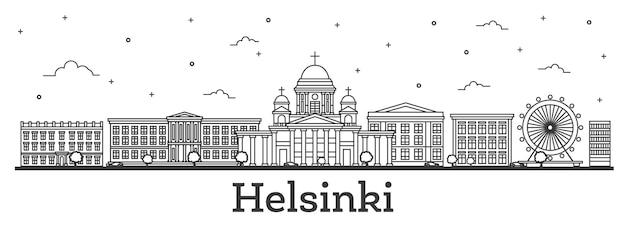 Zarys panoramę miasta helsinki finlandia z zabytkowych budynków na białym tle.