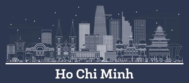 Zarys panoramę miasta ho chi minh w wietnamie z białymi budynkami