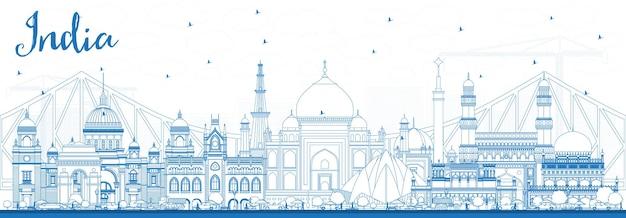 Zarys panoramę miasta indii z niebieskimi budynkami. delhi. hajdarabad. kalkuta. ilustracja wektorowa. koncepcja podróży i turystyki z zabytkową architekturą. indie gród z zabytkami.