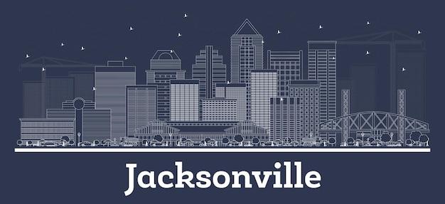 Zarys panoramę miasta jacksonville na florydzie z białymi budynkami. ilustracja wektorowa. podróże służbowe i koncepcja z historyczną architekturą. gród jacksonville z zabytkami.