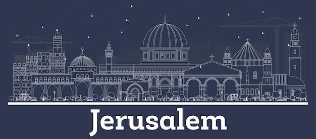 Zarys panoramę miasta jerozolimy izrael z białymi budynkami. ilustracja wektorowa. podróże służbowe i koncepcja z historyczną architekturą. jerozolima gród z zabytkami.