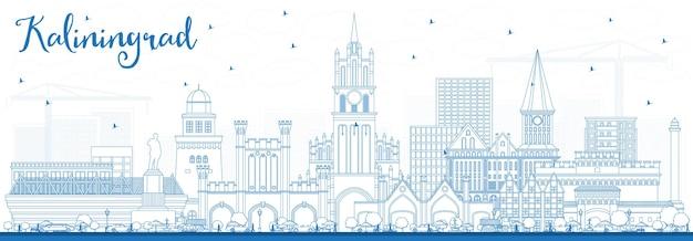 Zarys panoramę miasta kaliningrad rosja z niebieskimi budynkami. ilustracja wektorowa. podróże służbowe i koncepcja turystyki z zabytkową architekturą. kaliningrad gród z zabytkami.