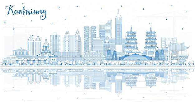 Zarys panoramę miasta kaohsiung na tajwanie z niebieskimi budynkami i odbiciami. ilustracja wektorowa. koncepcja podróży i turystyki z zabytkową architekturą. kaohsiung chiny gród z zabytkami.