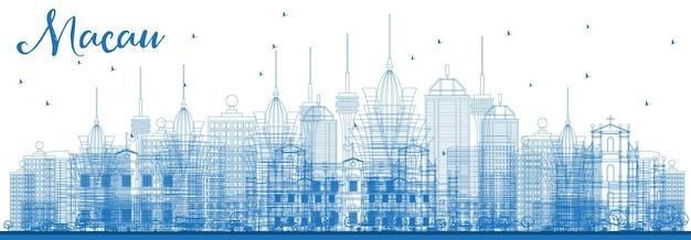 Zarys panoramę miasta makau w chinach z niebieskimi budynkami. ilustracja wektorowa. podróże służbowe i koncepcja turystyki z nowoczesną architekturą. makau gród z zabytkami.