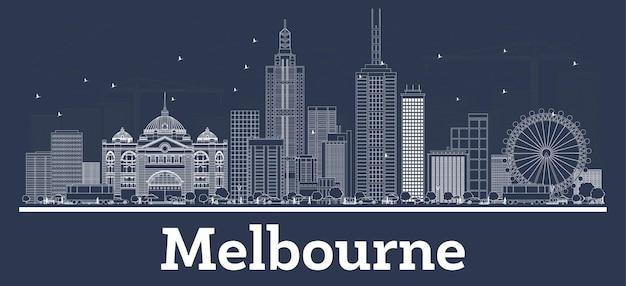 Zarys panoramę miasta melbourne australia z białymi budynkami. ilustracja