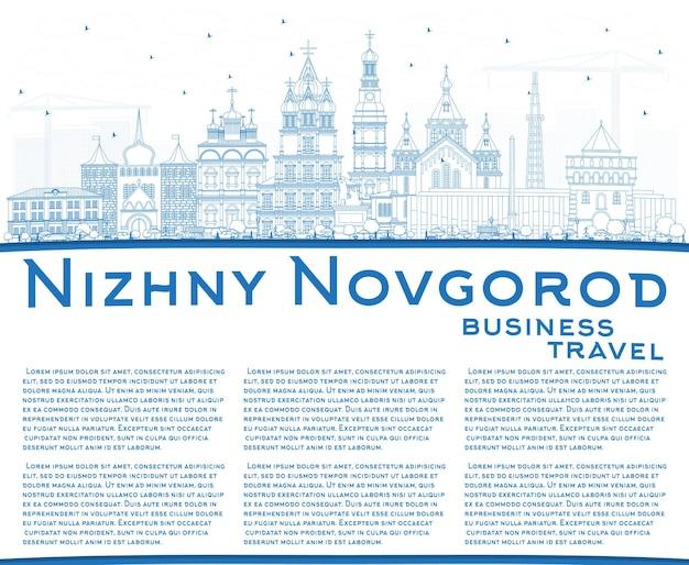 Zarys panoramę miasta niżny nowogród w rosji z niebieskimi budynkami i wektorem przestrzeni kopii