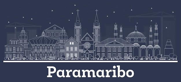 Zarys panoramę miasta paramaribo surinamu z białymi budynkami. ilustracja wektorowa. podróże służbowe i koncepcja z historyczną architekturą. gród paramaribo z zabytkami.