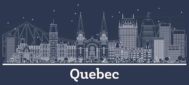 Zarys panoramę miasta quebec kanada z białymi budynkami. ilustracja wektorowa. podróże służbowe i koncepcja z historyczną architekturą. quebec gród z zabytkami.