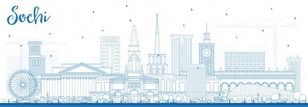 Zarys panoramę miasta rosji soczi z niebieskimi budynkami. ilustracja wektorowa. podróże służbowe i koncepcja turystyki z nowoczesną architekturą. soczi gród z zabytkami.