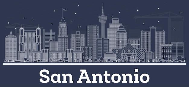 Zarys panoramę miasta san antonio w teksasie z białymi budynkami. ilustracja wektorowa. podróże służbowe i koncepcja z historyczną architekturą. gród san antonio z zabytkami.