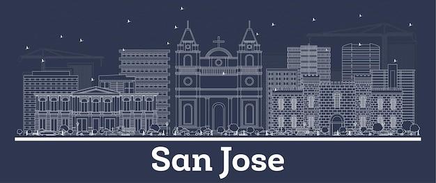 Zarys panoramę miasta san jose kostaryka z białymi budynkami. ilustracja wektorowa. podróże służbowe i koncepcja z historyczną architekturą. gród san jose z zabytkami.
