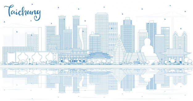 Zarys panoramę miasta taichung na tajwanie z niebieskimi budynkami i odbiciami. ilustracja wektorowa. podróże służbowe i koncepcja turystyki z zabytkową architekturą. taichung chiny gród z zabytkami.