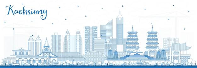 Zarys panoramę miasta tajwan kaohsiung z niebieskimi budynkami. ilustracja wektorowa. podróże służbowe i koncepcja turystyki z zabytkową architekturą. kaohsiung chiny gród z zabytkami.