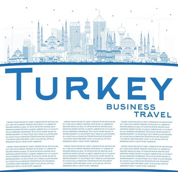 Zarys panoramę miasta turcji z niebieskimi budynkami i przestrzenią do kopiowania. ilustracja wektorowa. koncepcja turystyki z zabytkową architekturą. turcja gród z zabytkami. izmir. ankara. stambuł.