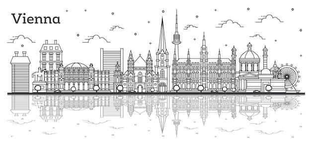 Zarys panoramę miasta wiedeń austria z zabytkowymi budynkami i refleksje na białym tle. ilustracja wektorowa. gród wiedeń z zabytkami.
