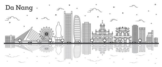 Zarys panoramę miasta wietnam da nang z zabytkowymi budynkami i refleksje na białym tle. ilustracja wektorowa. gród da nang z zabytkami.