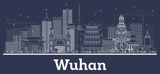 Zarys panoramę miasta wuhan china z białymi budynkami. ilustracja wektorowa. podróże służbowe i koncepcja z historyczną architekturą. gród wuhan z zabytkami.