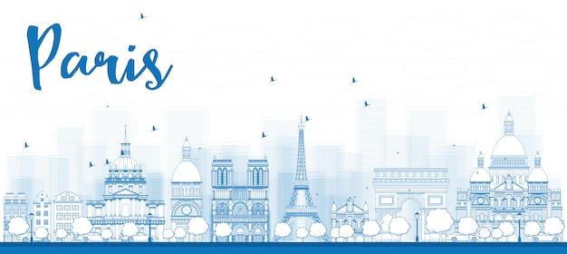 Zarys panoramę paryża z niebieskimi punktami orientacyjnymi