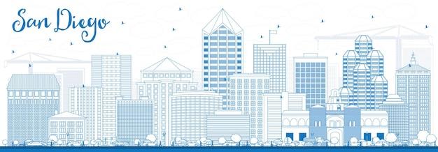 Zarys panoramę san diego z niebieskimi budynkami. ilustracja wektorowa. podróże służbowe i koncepcja turystyki z nowoczesną architekturą. obraz banera prezentacji i witryny sieci web.