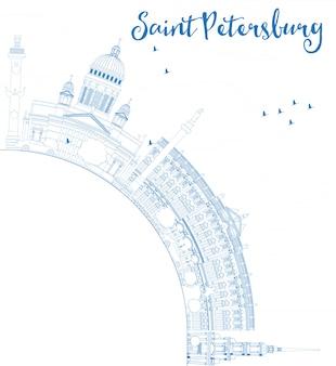 Zarys panoramę sankt petersburga z niebieskimi zabytkami i miejsce.