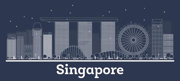Zarys panoramę singapuru z białymi budynkami. ilustracja wektorowa. podróże służbowe i koncepcja z nowoczesną architekturą. singapur gród z zabytkami.