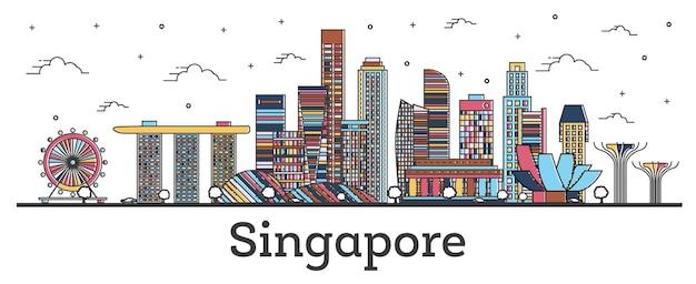 Zarys panoramę singapuru z kolorowymi budynkami na białym tle