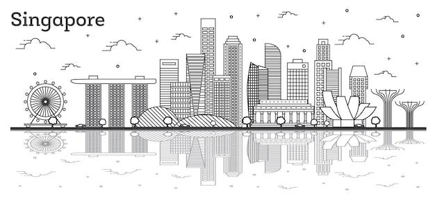 Zarys panoramę singapuru z nowoczesnymi budynkami i odbiciami na białym tle