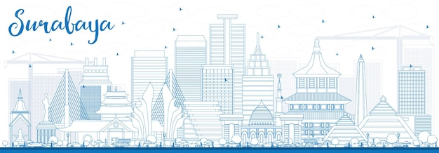 Zarys panoramę surabaya z niebieskimi budynkami. ilustracja wektorowa. podróże służbowe i koncepcja turystyki z nowoczesną architekturą. obraz banera prezentacji i witryny sieci web.