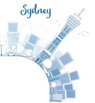 Zarys panoramę sydney city z drapaczami chmur i miejsce