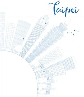 Zarys panoramę tajpej z niebieskimi punktami orientacyjnymi i miejsca na kopię.
