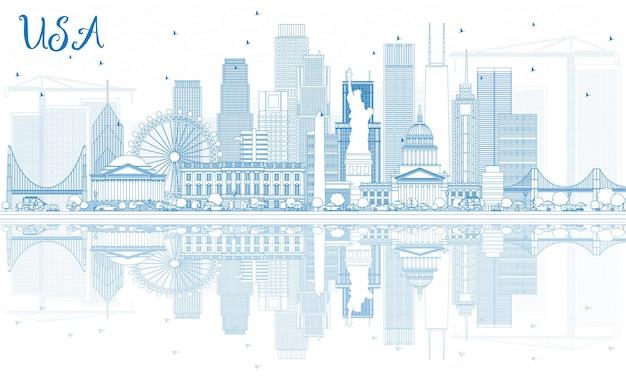 Zarys panoramę usa z niebieskimi wieżowcami i zabytkami. ilustracja wektorowa. podróże służbowe i koncepcja turystyki z nowoczesną architekturą. obraz banera prezentacji i witryny sieci web.
