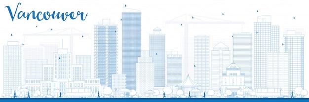 Zarys panoramę vancouver z niebieskimi budynkami.
