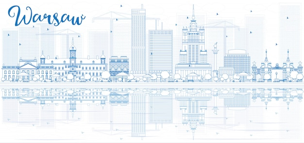 Zarys panoramę warszawy z niebieskimi budynkami i odbiciami.