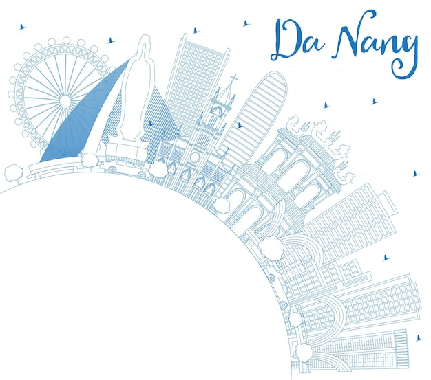 Zarys panoramę wietnamu da nang z niebieskimi budynkami i przestrzenią do kopiowania. ilustracja wektorowa. podróże służbowe i koncepcja turystyki z nowoczesną architekturą. gród da nang z zabytkami.