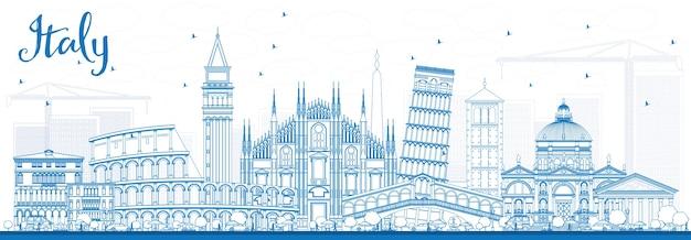 Zarys panoramę włoch z niebieskimi punktami orientacyjnymi. ilustracja. podróże służbowe i koncepcja turystyki z historyczną architekturą.