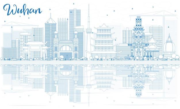 Zarys panoramę wuhan z niebieskimi budynkami i odbiciami. ilustracja wektorowa. podróże służbowe i koncepcja turystyki z nowoczesną architekturą. obraz banera prezentacji i witryny sieci web.