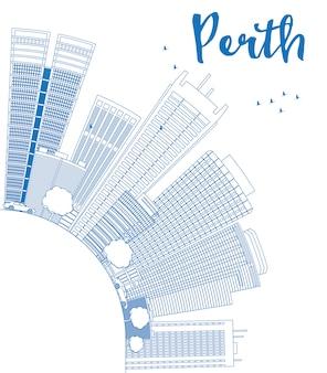 Zarys perth panoramę z niebieskimi budynkami i miejsca na kopię.