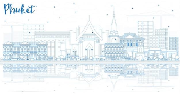 Zarys phuket tajlandia city skyline z niebieskimi budynkami i odbicia. ilustracja wektorowa. podróże służbowe i koncepcja turystyki z nowoczesną architekturą. gród phuket z zabytkami.