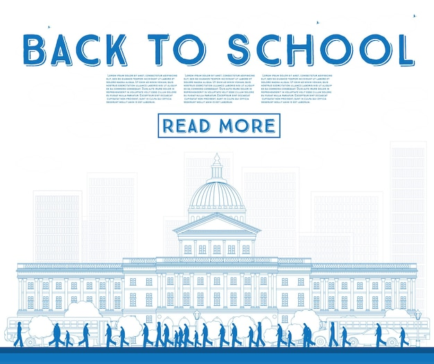 Zarys powrót do szkoły. baner z szkolnym autobusem, budynkiem i uczniami. ilustracja wektorowa.