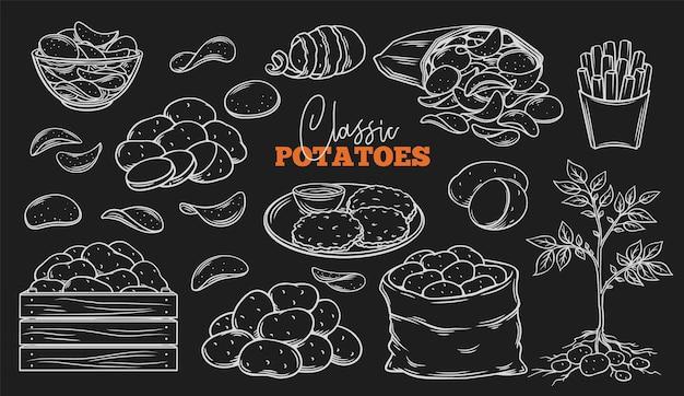 Zarys produktów ziemniaczanych na tablicy. graweruj frytki, naleśniki, frytki, całe korzenne ziemniaki