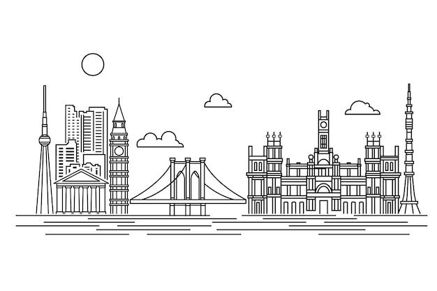 Zarys punktów orientacyjnych panoramę biały i czarny