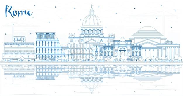 Zarys rzym włochy panoramę miasta z niebieskimi budynkami i odbiciami. ilustracja wektorowa. podróże służbowe i koncepcja z historyczną architekturą. rzym gród z zabytkami.