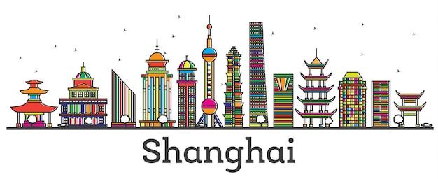 Zarys shanghai china city skyline z nowoczesnymi budynkami na białym tle. ilustracja wektorowa. szanghaj gród z zabytkami.