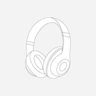 Zarys słuchawek bezprzewodowych, ilustracja wektorowa urządzenia rozrywkowego