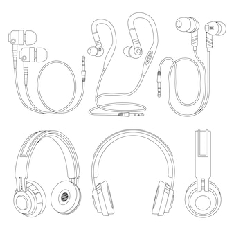 Zarys słuchawki, bezprzewodowe i przewodowe słuchawki muzyczne wektor ilustracja na białym tle