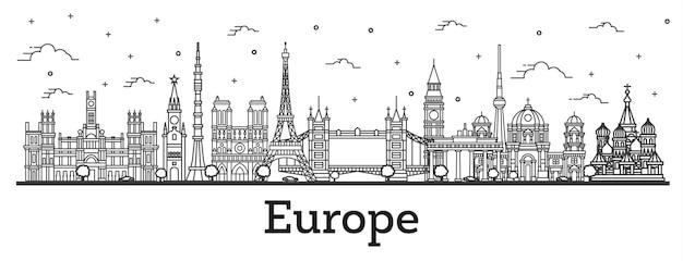 Zarys słynnych zabytków w europie. ilustracja wektorowa. koncepcja podróży służbowych i turystyki. paryż, londyn, berlin, moskwa, madryt.