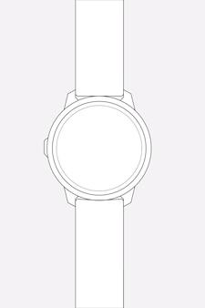 Zarys smartwatcha, ilustracja wektorowa urządzenia do śledzenia zdrowia