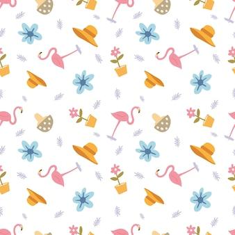 Zarys szkicu unikalnego flaminga z innymi przedmiotami z ikonami i kolorem elementów projektu